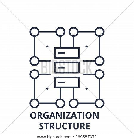 Organization Structure Line Icon Concept. Organization Structure Vector Linear Illustration, Symbol,