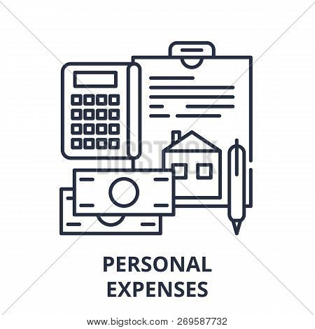 Personal Expenses Line Icon Concept. Personal Expenses Vector Linear Illustration, Symbol, Sign