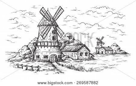 Village Near A Wheat Field And A Windmill Drawn By Hand