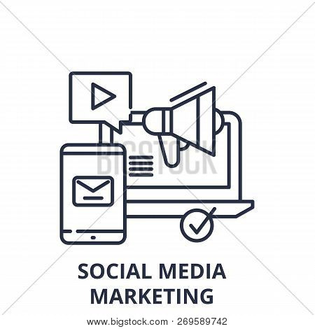 Social Media Marketing Line Icon Concept. Social Media Marketing Vector Linear Illustration, Symbol,