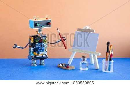 Robot Painter Begins To Create A Drawing With A Pencil. White Paper Mockup, Wooden Easel And Artists