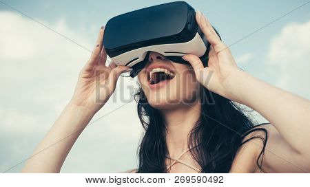Happy Girl Using Vr Headset. The Future. Woman With Glasses Of Virtual Reality. Digital Future And I