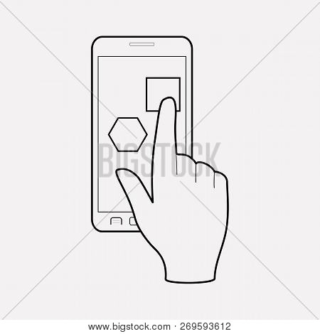 Mobile App Icon Line Element. Vector Illustration Of Mobile App Icon Line Isolated On Clean Backgrou