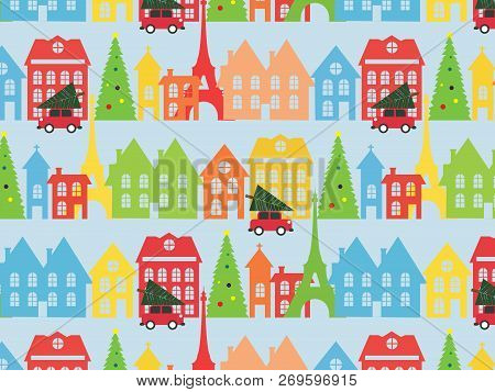Pattern With Christmas Tree With Flag In Green And Red. The Pattern For The New Year. Xmas Backgroun