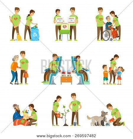 Volunteers And Charity Set Vector Isolated Icons Set. Donate To Orphans, Blood Donation, Help Elderl
