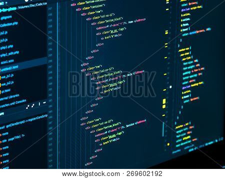 Coding Html And Css In Ide, Macro. Software Development. Software Source Code