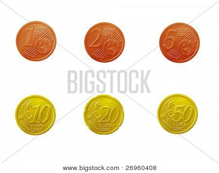 Euro cent coins full set isolated on white background