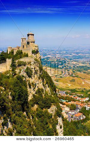 San Marino castle over a hill