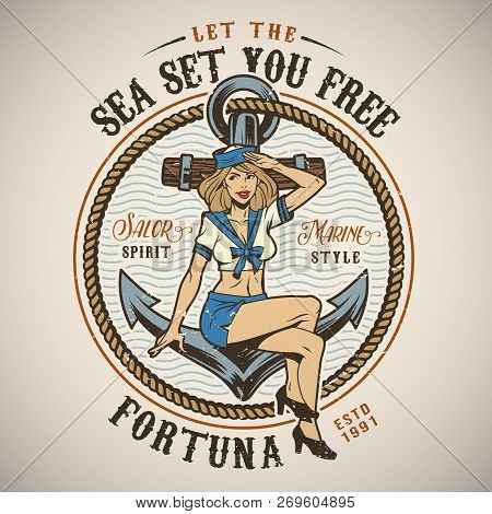 Vintage Colorful Marine Logo With Saluting Sailor Girl Metal Anchor And Round Rope Isolated Vector I