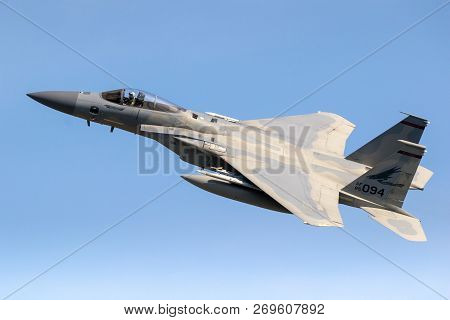 Leeuwarden, Netherlands - Apr 19, 2018: Us Air Force F-15 Eagle Fighter Jet Plane Taking Off During