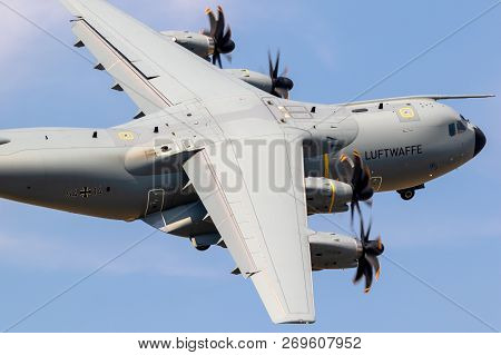 Wunstorf, Germany - June 9, 2018: New German Air Force Luftwaffe Airbus A400m Military Transport Pla
