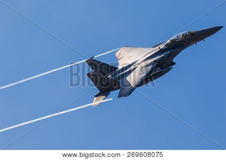 Lakenheath, Uk - Jul 12, 2018: Us Air Force F-15e Strike Eagle Bomber Jet Airplane In Flight Over Ra