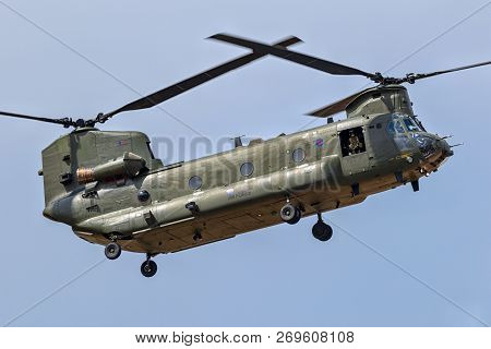 Fairford, Uk - Jul 13, 2018: British Royal Air Force Boeing Ch-47 Chinook Helicopter In Flight Over