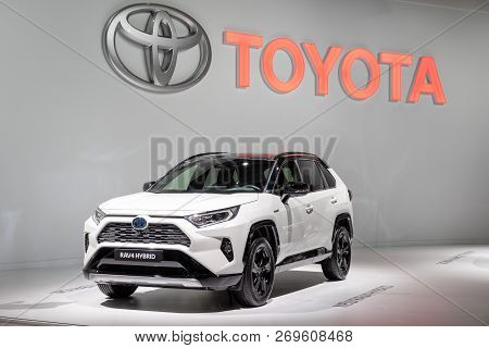 Paris - Oct 3, 2018: Toyota Rav4 Hybrid Car Showcased At The Paris Motor Show.