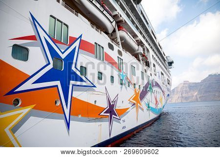 Santorini, Greece - 17.10.2018: Norwegian Star Is A Cruise Ship Owned And Operated By Norwegian Crui