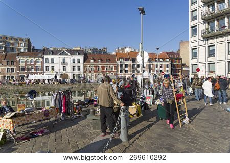 Lille, France - September 1, 2018: The Traditional Annual Flea Market In Lille (the First Weekend Of