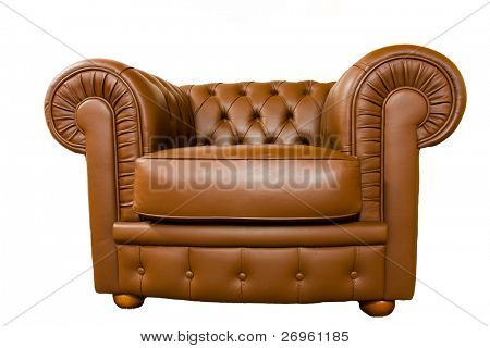 Leather armchair isolated on white