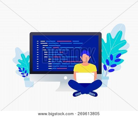 Programmer And Coding Concept. Man Sitting Near Big Laptop And Coding And Correct Errors In Project.