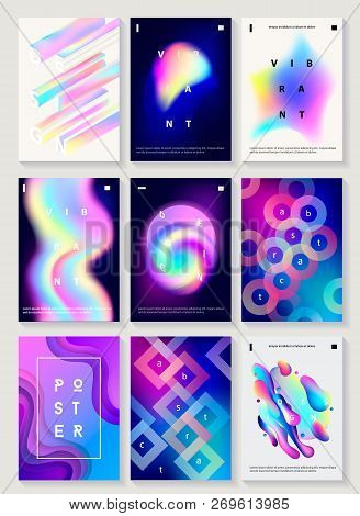 poster of Set of 9 creative design posters. Modern style abstraction background of liquid colorful shapes, circles, geometric polygon, crystal, vibrant gradient, paper cut shapes. Futuristic design. Vector