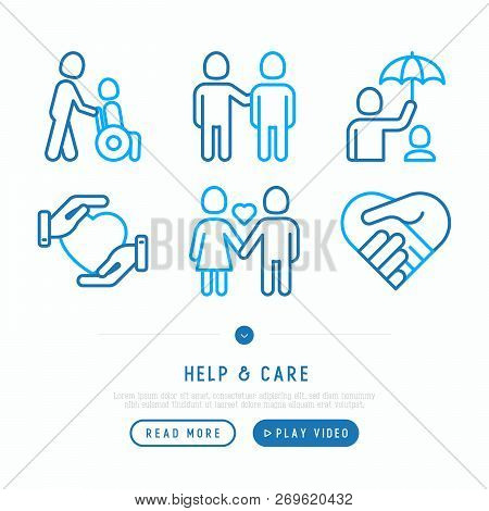 Help And Care Thin Line Icons Set: Symbols Of Support, Help For Children And Disabled, Togetherness,