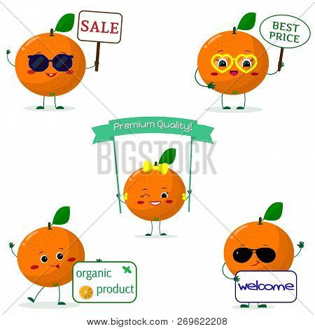 A Set Of Five Oranges Smile In Cartoon Style. With Different Plates And Glasses. Flat, Vector.