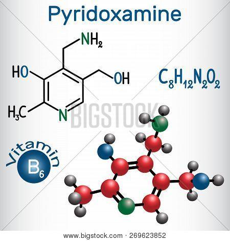 Pyridoxamine Molecule, Is A Vitamin B6. Structural Chemical Formula And Molecule Model. Vector Illus