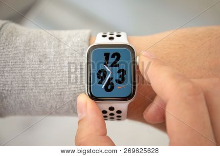 Alushta, Russia - November 6, 2018: Man Hand With Apple Watch Series 4 With Nike Watch Face On The S