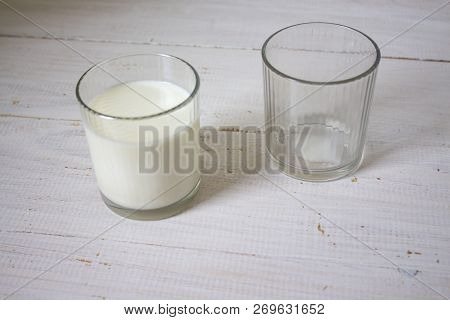 Delicious Fresh Milk One Of The Primary Sources Of Nutrition. Two Glasses