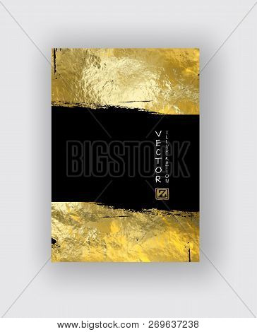 Vector Black And Gold Design Templates For Brochures, Flyers, Mobile Technologies, Applications, Onl