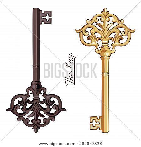 Ornamental Medieval Vintage Keys With Victorian Leaf Scrolls, Hand-drawn Antique Keys