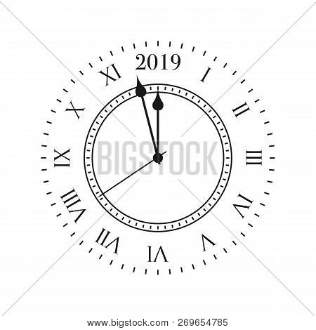 2019 Clock. Round Retro Clock With Roman Numbers, And 2019 Midnight Numbers.