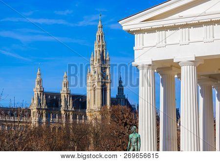Theseus temple and Cityhall in Vienna Austria - cityscape architecture background