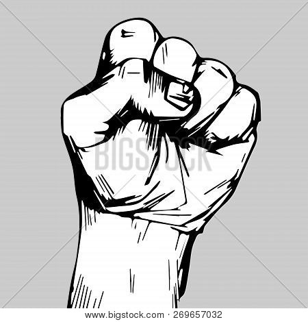 Freehand Drawing. Clenched Fist Held High In Protest. Clenched Fist Held In Protest Vector Illustrat
