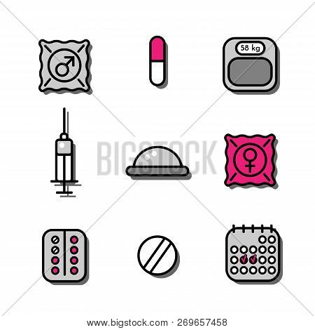 Vector Illustration Set Of Medicine Icons About Contraceptive Methods (oral Pills, Diaphragm, Condom