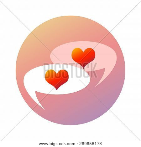 Love Hearts Chatting And Flirting In Talk Bubbles