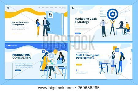 Set Of Flat Design Web Page Templates Of Marketing Strategy, Consulting, Human Resources Management,