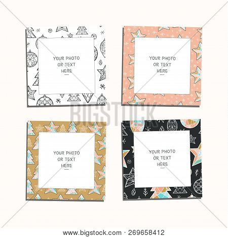 Cartoon Style. Christmas And New Year Vector Template Frames. These Photo Frames You Can Use For Kid