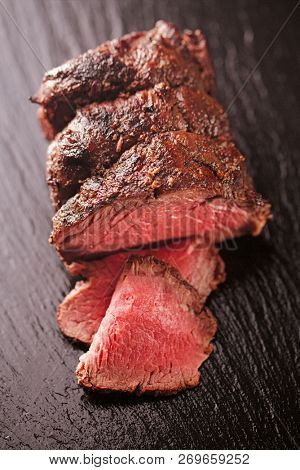 roast beef steak, perfectly sous vide cooked and grilled on wood