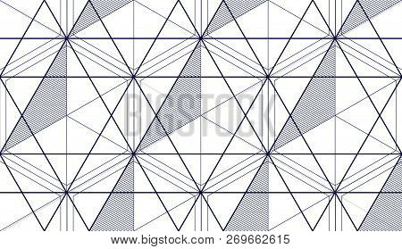 Geometric 3d Lines Abstract Seamless Pattern, Vector Background. Technology Style Engineering Line D