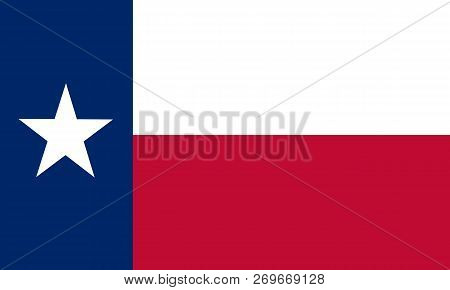 Flat Texas State Flag - Usa In The Colors Blue, White And Red