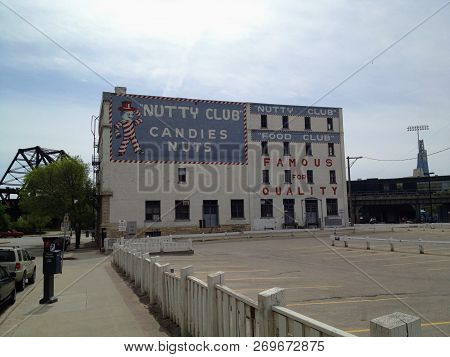 Winnipeg, Manitoba, Canada - June 1st, 2014:  The Iconic Nutty Clubs Can-d-man Building In Downtown