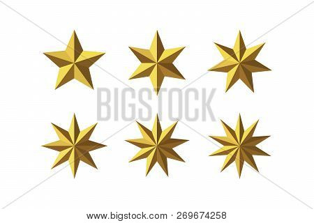 Set Of Beautiful Faceted Shiny Golden Metal Stars Isolated On White. Five, Six, Seven, Eight, Nine,