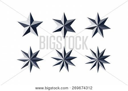 Set Of Beautiful Faceted Shiny Black Paper Stars Isolated On White. Five, Six, Seven, Eight, Nine, T
