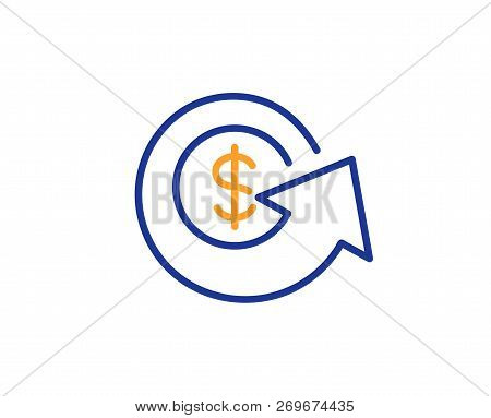 Dollar Exchange Line Icon. Money Refund Sign. Cashback Symbol. Colorful Outline Concept. Blue And Or