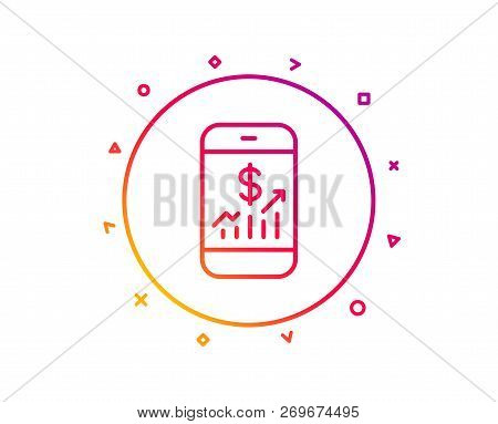 Mobile Finance Line Icon. Business Audit Sign. Check Investment Symbol. Gradient Pattern Line Button
