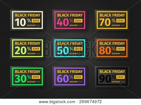 Black Friday Discounts Template. Set Of Coupons With Different Percentages -10, 20, 30, 40, 50, 60,