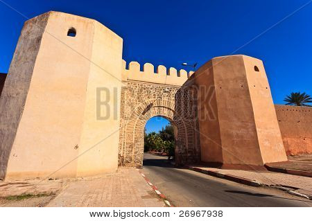 View Through City Wall Gate On A Sunny Day In Meknes, Morocco