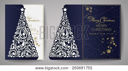 Laser Cut Template For Christmas Cards, Square Invitation For Party With Christmas Tree Cutout Of Pa