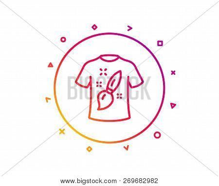 T-shirt Design Line Icon. Creative Brush Sign. T Shirt Graphic Art Symbol. Gradient Pattern Line But