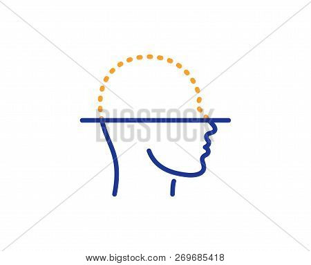 Face Scanning Line Icon. Facial Scan Sign. Head Recognition Symbol. Colorful Outline Concept. Blue A